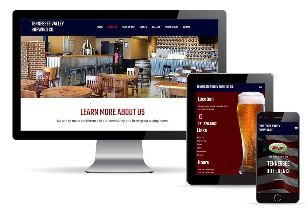 Responsive Brewery Web Design on desktop tablet and mobile