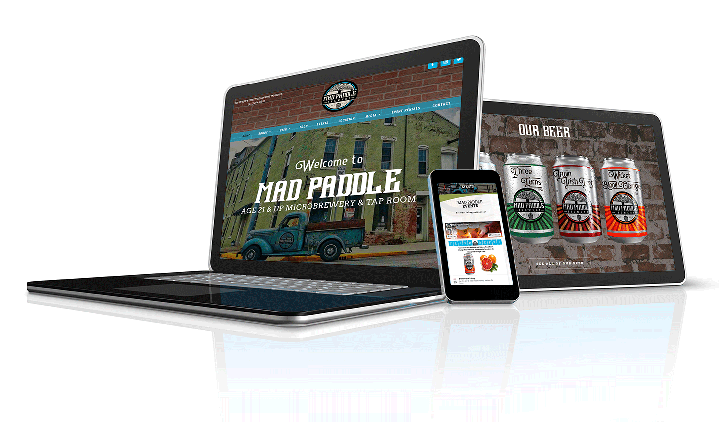 Mad Paddle Brewery example of responsive craft beer website design displayed on all devices