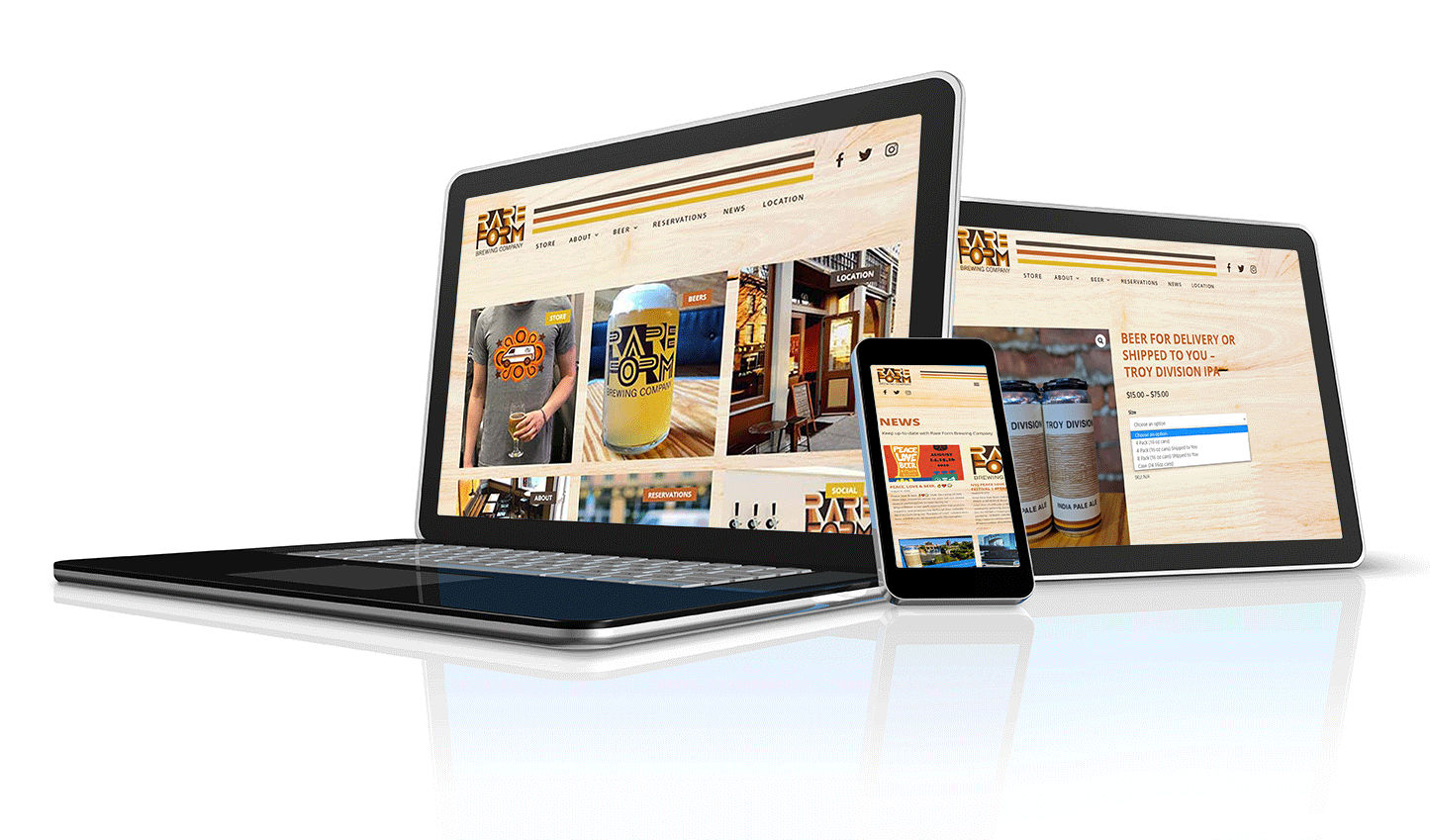 Rare Form Brewing example of mobile friendly brewery website design displayed on all devices