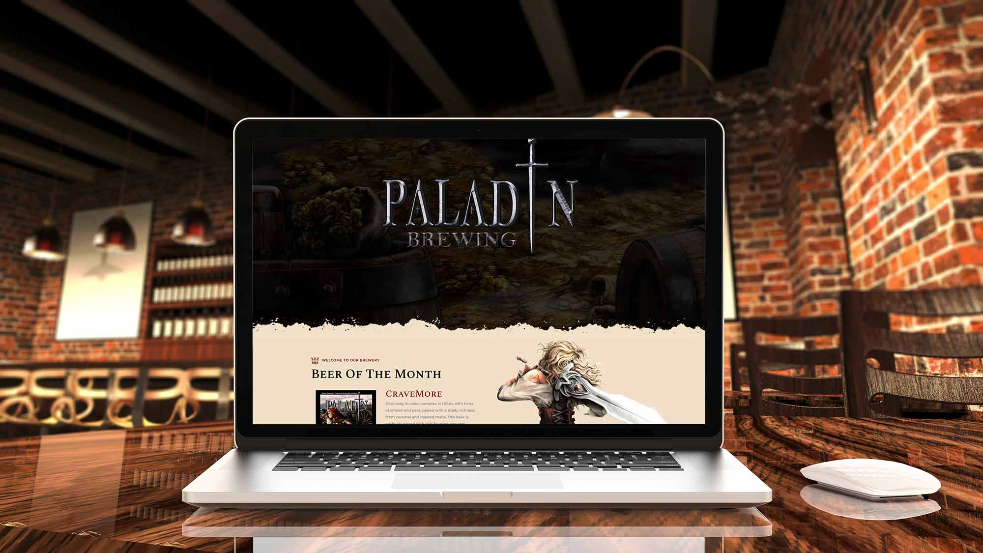 brewery website design paladin brewing displayed on a laptop